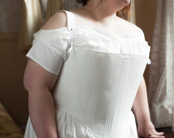 Tudor Stays in Plus Sizes, Elizabethan Corset with Busk and Steel Boning, Pair of Bodies 16th Century 1500's Queen Elizabeth I Era