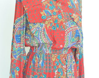 Vintage paisley Shirtwaist Dress//  Ladies Secretary Style // 80s does 50s