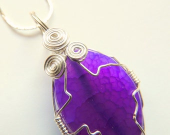 Purple Agate Pendant, Silver Wire Wrap Pendant, Handcrafted Jewelry, Gemstone Jewelry, Purple and Silver
