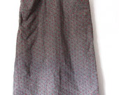 Vintage Gray Wool Skirt with Red Stitch Accents and Pockets
