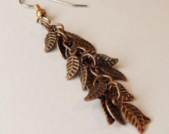 Copper Earrings Tiny copper leaves