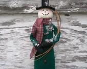 Primitive Winter Will The Folk Art Snowman Shelf Sitter Winter Christmas Decoration