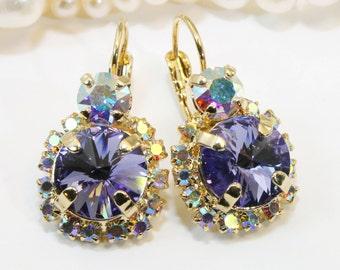 Purple Crystal Earrings Gold AB Violet Crystal Tanzanite Lavender Drop Halo Earrings Purple wedding ,Swarovski Gold Finish,Tanzanite,GE102