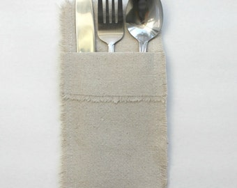 Linen Look Cotton Silverware Holders