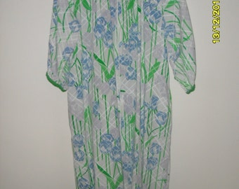 Vintage 80s Cotton Robe or Duster in Blue and Green, Size M/L