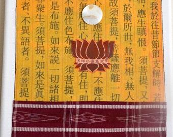 Buddhist Tibetan Sari Art Mixed Media Collage  Karma Zen Lotus Art
