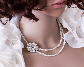 Pearl Bridal Necklace Statement Wedding Necklace Pearl Necklace Brooch Wedding Jewelry Bridal Jewelry Wedding Accessories