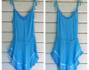 VINTAGE 70s turquoise gauze and crochet mini dress