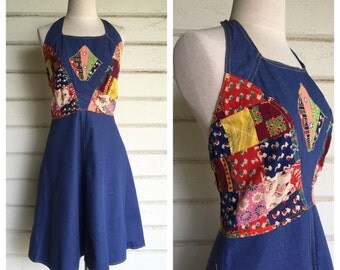 VINTAGE 70s INDIAN denim and patchwork BATIK halter dress