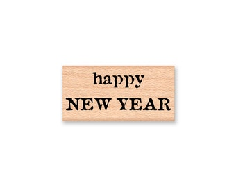 happy NEW YEAR-merry christmas-christmas greeting-Wood Mounted Rubber Stamp (mc 33-40)(hny 33-42)