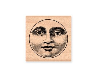 Man in the Moon-moon face-vintage man in the moon-plantet earth stamp- wood mounted rubber stamp (MCRS-45-22)