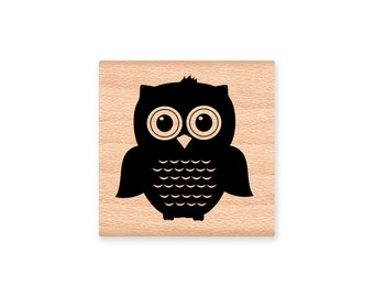 OWL STAMP Cute Owls two sizes small large mom and baby shower stamp hoot forest lake cottage cabin camping Wood Mounted (48-13 L)(48-14 SM)