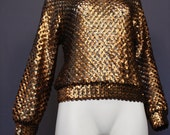 1980 Harry Acton for Party Collectibles DISCO sequined GOLD n' black sheer blouse
