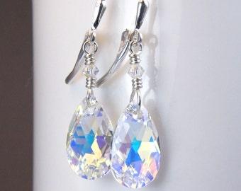 Teardrop Crystal Earrings, Swarovski, Sterling Silver, Clear Dangle, Bridal Drop, Bridesmaids Earrings, Wedding Jewelry, Handmade Gift