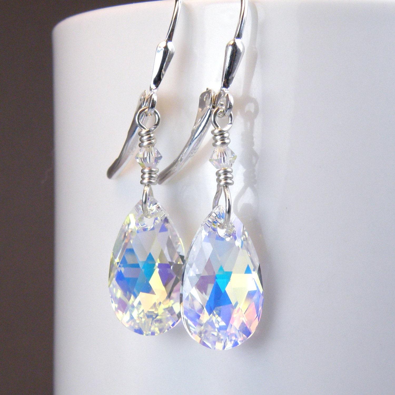 Teardrop crystal earrings swarovski sterling silver clear for Swarovski jewelry online store