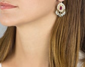 March Birthstone-Rosy Cubic Zirconia Pearls and Aquamarine Ethnic earrings