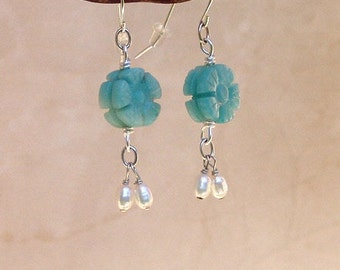 Sterling Silver, Carved Amazonite and Freshwater Pearl Earrings