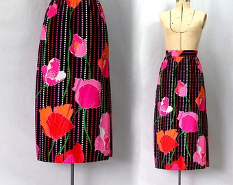 Vintage 70s Poppy Brights from Andy's Garden Skirt