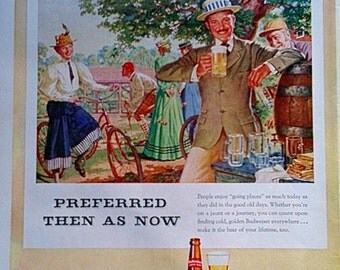 1952 Budweiser Beer Magazine Ad -   Magazine Ads, 1950s, Print Ad, Wall Decor, Vintage Ads, Paper Ephemera
