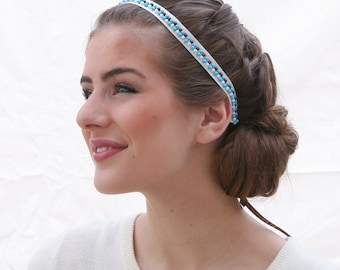 Beaded Bohemian Tie Headband in Blue and Brown Hair Accessory for Women and Teens, Woman Hair Accessory, Turquoise Boho Tie Headband