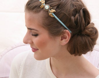 Woman's Headband with Vintage Cameo and Gold Leaves Hair Accessories, Gifts for Her