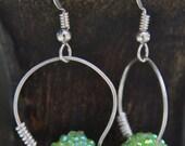 Wrapped Loop Earrings - Green Crystal Ball