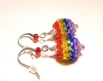 Rainbow Glass Seed Bead Ball Charm Earrings - Red Earring Hooks