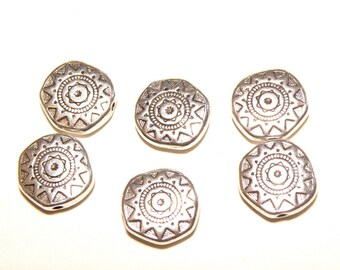 6 Pewter Ornate Southwestern-Style Disc Spacer Beads