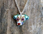 SALE - Little Day of the Dead Floppy Eared Pit Bull Sugar Skull Dog Necklace