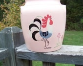 Vintage Ransburg Pottery Cookie Jar...Pink Peach Color...Hand Painted Rooster...Canister...Retro Kitchen Decor...Kitchenware...Country