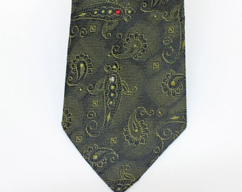 """SALE - 50's / 60's Green Paisley Tie / Skinny Tie / Acetate / 3 """" Wide"""
