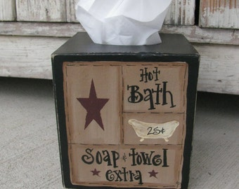 Primitive Hot Bath Bathroom Sampler Tissue Box Cover GCC5631