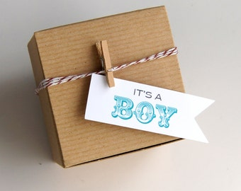 12 It's a Boy (circus) Baby Shower Favor Box Kit with Flag Tags . 3x3x2 Kraft Pinstripe Gift Box