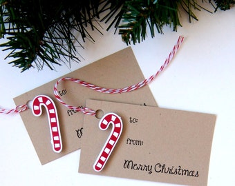 Candy Cane Christmas Tags or Package Labels (Qty. 6)