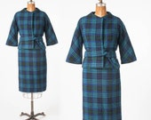 1960s Blue Wool Plaid Suit: Vintage Monte Sano & Pruzan, Bonwit Teller, Designer Two Piece Set, Blouson Jacket, Pencil Skirt