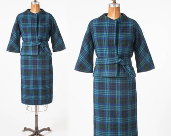 Vintage Blue Wool Plaid Suit, Designer Monte Sano & Pruzan Bonwit Teller, 1960s Two Piece Set, Woman's Clothing, Suits