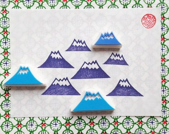 winter mountain hand carved rubber stamp set. woodland stamp. birthday christmas gift wrapping. holiday scrapbooking crafts. set of 3