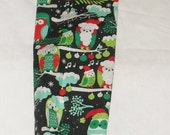 Owl on a Branch Christmas Design Fabric Plastic Grocery Bag Holder