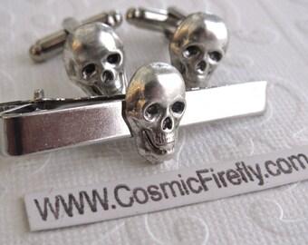 Tiny Skull Cufflinks & Silver Skull Tie Clip Men's Cufflinks Gothic Victorian Steampunk Cufflinks Pirate Cufflinks Small Skulls Made In USA