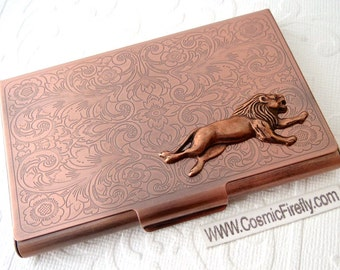 Lion Business Card Case Steampunk Card Case Copper Card Holder Gothic Victorian Style Card Case New Vintage Style Leo Card Case