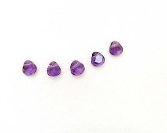 Amethyst 8 x 8 mm Faceted Teardrop Bead 5  Beads Necklace Bracelet Earrings Jewelry Supply #B4