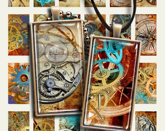 1x2 inch size reqtangle Images STEAMPUNK DOMINOES Digital Collage Sheet Printable download for glass and resin pendants magnets bezel trays