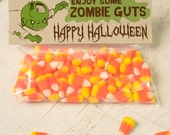 INSTANT DOWNLOAD Halloween Zombie guts Treat Topper Candy Bag Topper Label homemade candy trick or treat bag boy's monster printable top