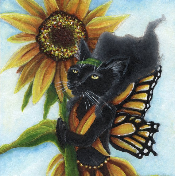Black Cat Fairy Sunflower Butterfly Faerie Fantasy Art 8x10 Reproduction Print