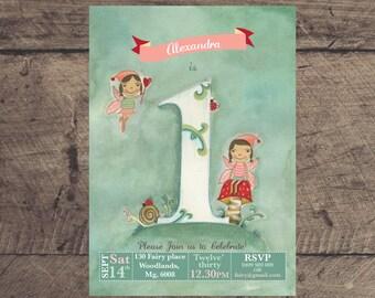 Woodland fairy 1st birthday printable party invitation - original illustrated woodland fairy invite