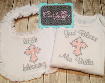 Custom personalized baby baptism or christening gift set - Bib and Bodysuit