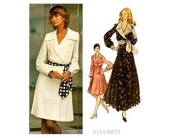1970s Vogue Paris Original 2729, Nina Ricci Wrap Dress Pattern, Two Skirt Lengths, Long Sleeves, Bust 38, Uncut, Label