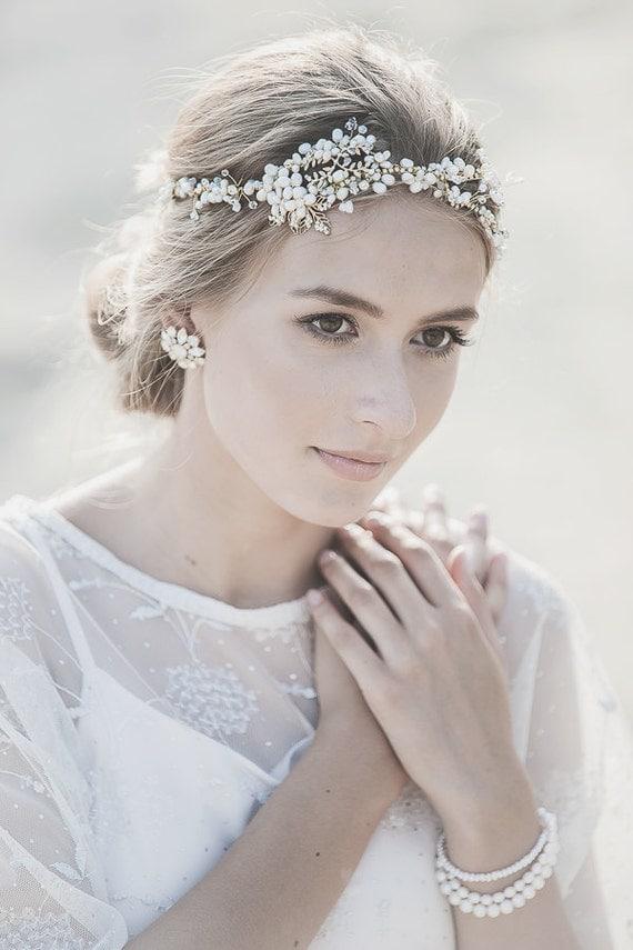 Wedding Headpiece Gold Wedding Headband Bohemian Wedding