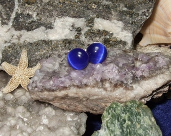 Cobalt Blue Fibre Optic Stud Earrings Earings Titanium Ear Post and Clutch Hypo Allergenic 8mm Round Cats Eye