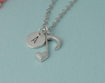 Musical notes necklace, personalized music necklace, music lover